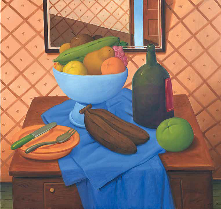 Still life with fruits and bottle_2005_Oil on canvas_136 x 144 cm_764w