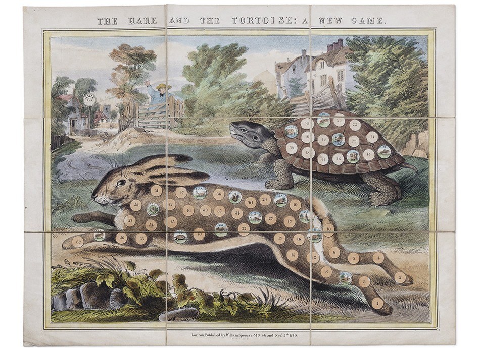 The-Hare-and-the-Tortoise_-A-New-Game,-London_-William-Spooner,-1849,-hand-colored-lithograph,-Yale-Center-for-British-Art,-Gift-of-Ellen-and-Arthur-Liman,-Yale-JD-1957