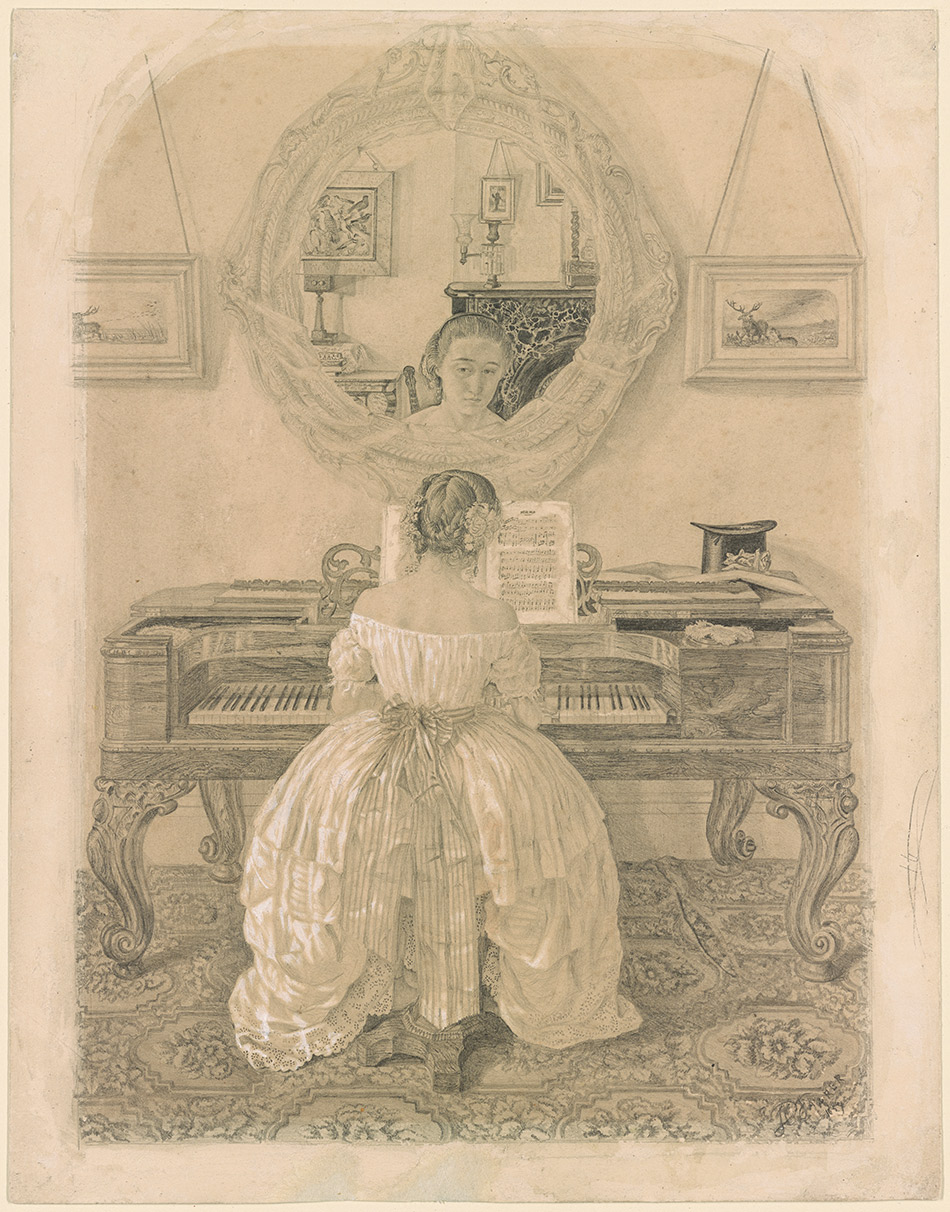 Farrer, Thomas Charles, 1839-1891. Woman Seated at a Piano, Looking into a Mirror [drawing]. 1859. 1970.6