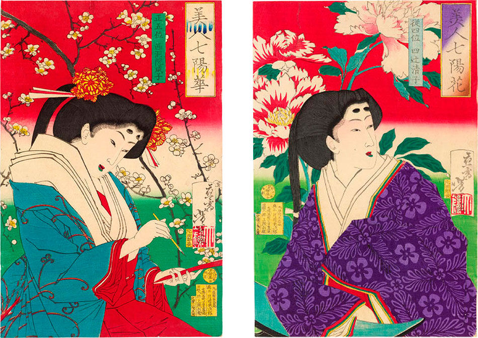 Beauties-and-Seven-Daytime-Flowers_ by Tsukioka Yoshitoshi - Philadelphia Museum of Art_950-W