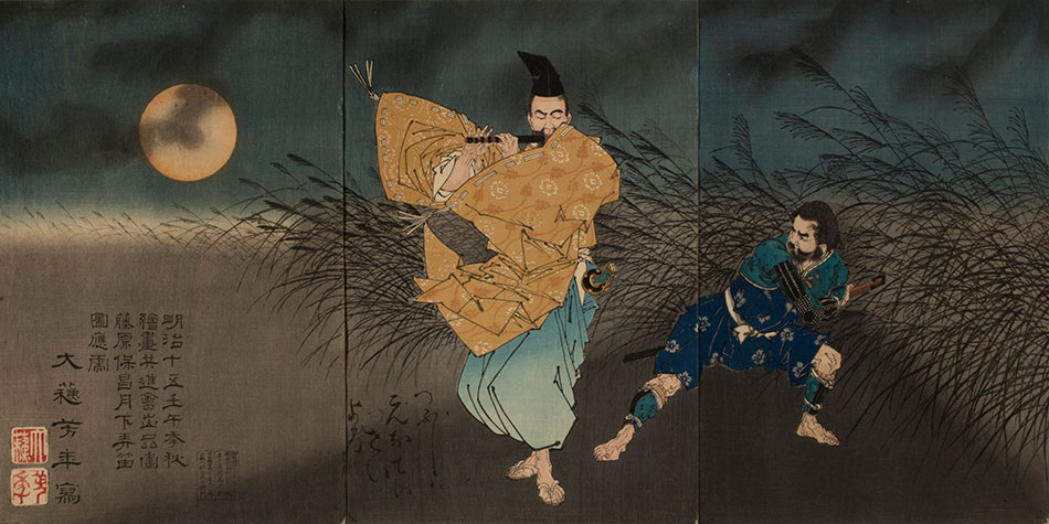 The-Heian-Poet-Yasumasa-Playing-the-Flute-by-Moonlight,-Subduing-the-Bandit-Yasusuke-with-His-Music_by-Tsukioka-Yoshitoshi_Philadelphia-Museum-of-Art_950-W