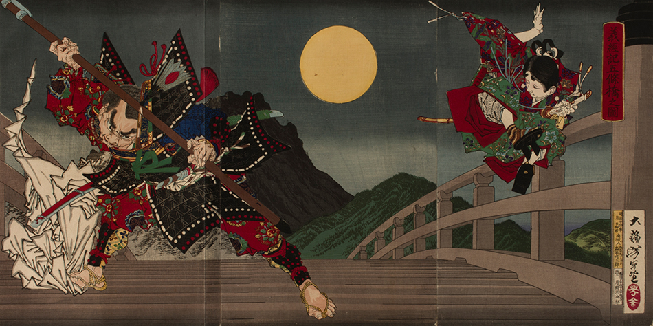 YOSHITOSHI_The-Giant-Twelfth-Century-Warrior-Priest-Benkei-Attacking-Young-Yoshitsune-for-His-Sword-on-the-Gojo-Bridge_Philadelphia-Museum-of-Art_950_W