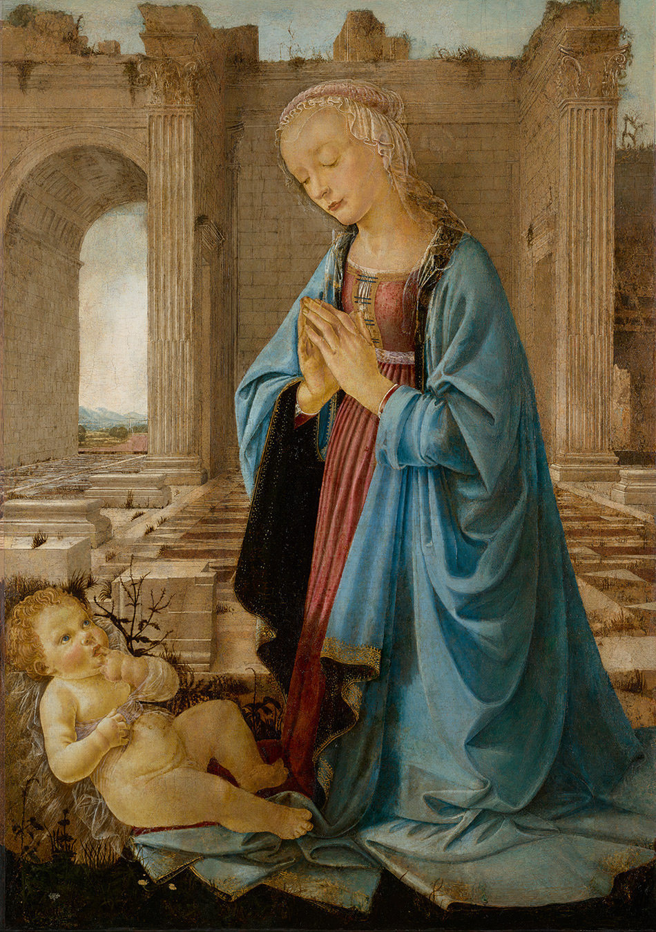 Andrea-del-Verrocchio-and-Domenico-Ghirlandaio_The-Virgin-Adoring-the-Christ-Child_950-W