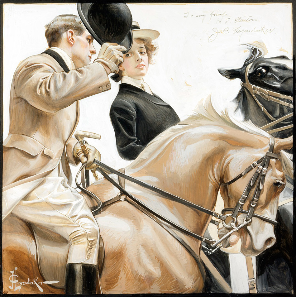 J.C. Leyendecker_Christmas_Carolers_detail_950-WGarden_Walk_950-WCouple-on-Horseback_950-W