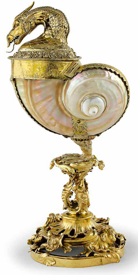 Stand: Johann Joachim Busch (1720–1802) Cup and cover: German(?), ca. 1600; stand: German, Mecklenburg, before 1753 Green turban snail shell (Turbo marmoratus), silver (gilded), brass (cast, partially gilded) H. 14 3⁄16 in. (36 cm) Staatliche Schlösser, Gärten und Kunstsammlungen Mecklenburg- Vorpommern, Schwerin (KH 887)