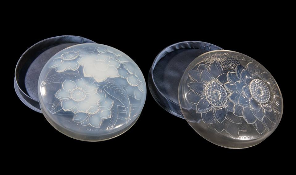 "In 1922, René Lalique created the ""Three Dahlias"" and ""Six Dahlias"" boxes. They are both opalescent, but different."