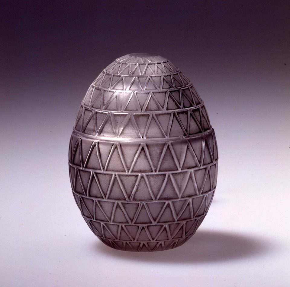On this egg-shaped perfume bottle created for the Worth brand in 1929, the W forms the pattern of the bottle. Happy Easter
