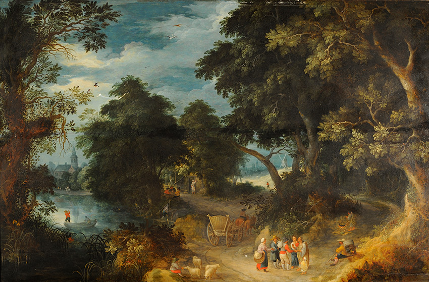 Abraham-Govaerts,-Flemish_-A-wooded-river-landscape-with-gypsies-and-peasants-on-a-path,-men-in-a-boat-and-a-village-beyond_850 W