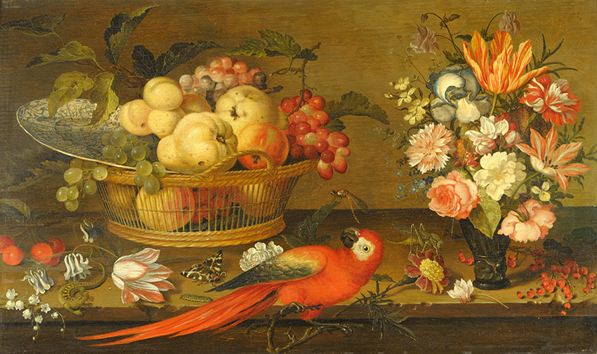 Balthazar-van-der-Ast,-Dutch_A-basket-of-fruit-with-a-wanlikraak-porcelain-dish,-a-vase-of-flowers,-a-parrot,-a-lizard-and-insects-on-a-ledge_850 W