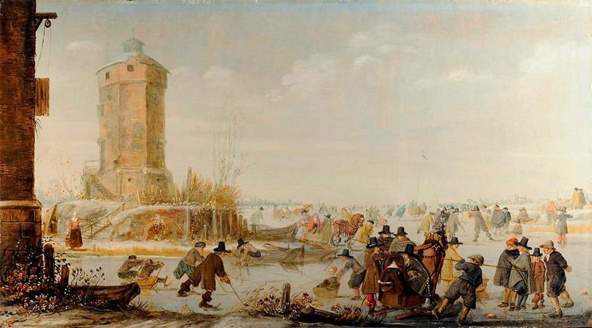 Barent-Avercamp_-dutch_Skaters,-Kolf-Players-and-Elegant-Figures-with-Horse-Drawn-Sleighs-on-a-Frozen-Riverby-a-Tower_850 W