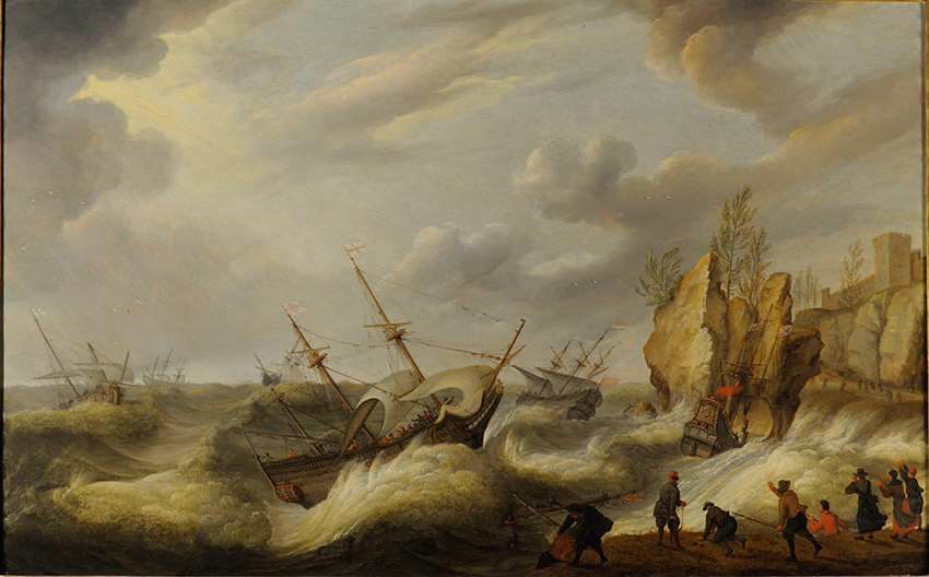 Isaac-Willaerts,-Dutch_Ships-foundering-off-a-rocky-shore_850-W