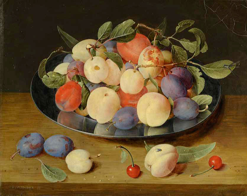 Jacob-van-Hulsdonck_flemishPlums-and-Peaches-on-a-Pewter-Plate,-with-Plums,a-Peach-and-Cherries-on-a-Table_836-W
