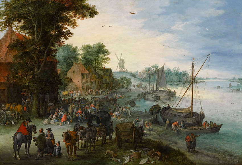 Jan-Brueghel-the-Elder---A-wooded-river-landscape-with-a-fish-market-and-fishing-boats_850-W