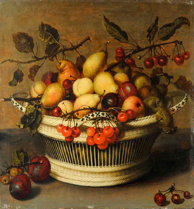 Johannes-Bouman_german_Still-Life-of-Pears,-Plums,-and-Cherries-in-a-Basket_781-W