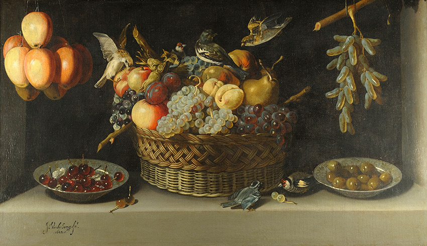 Juan-van-der-Hamen-y-Leon,-Spanish_Still-Life-with-a-basket-of-fruit-with-two-plates-of-fruit-and-two-birds,-all-on-a-stone-ledge_850-W