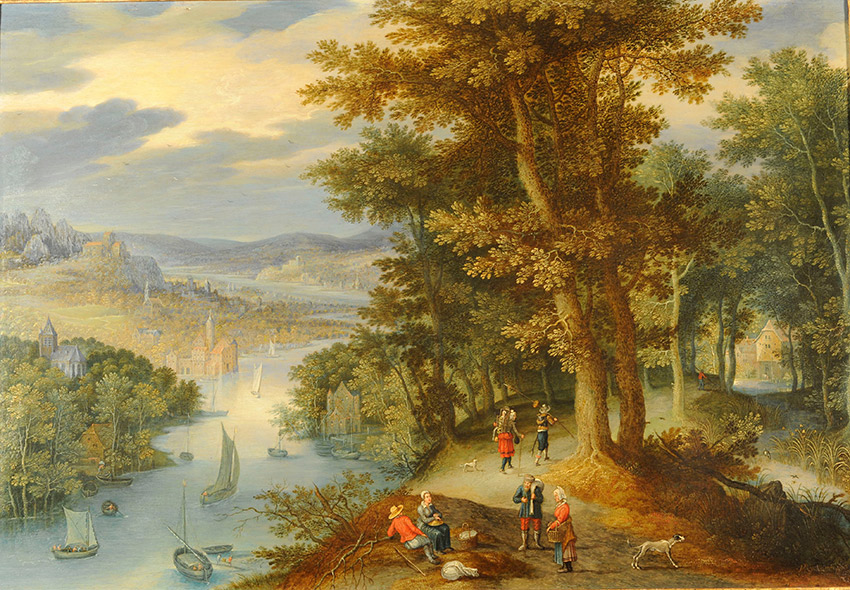 Maerten-Ryckaert,-Flemish_-An-extensive-wooded-river-landscape-with-travelers-on-a-path-and-shipping-on-a-river-below_850-w