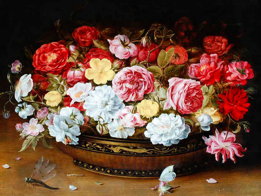 Osias-Beert_flemish_Still-Life-of-Roses-in-a-Lacquer-and-Cane-Work-Oriental-Bowl,-with-a-Butterfly-and-Dragonfly-all-upon-a-Ledge_840-w