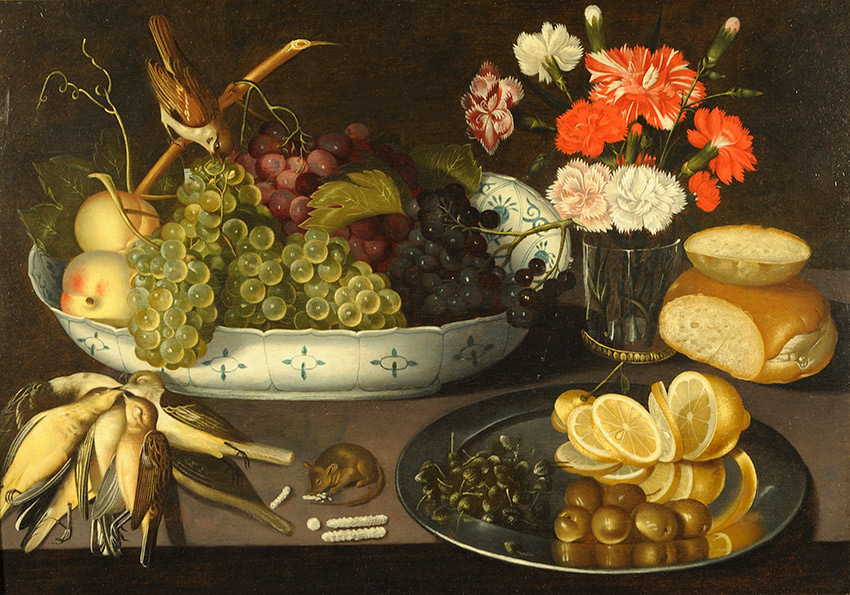 Peter-Binoit,-German_-German_Still-Life-of-grapes,-and-peaches-on-a-porcelain-bowl_850-w