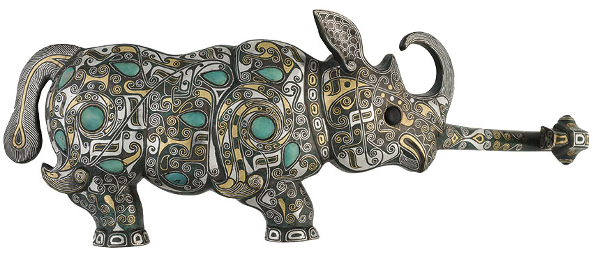 32_-SAM-MYERS-Chapter_form-of-a-rhinoceros_-bronze-with-inlaid-gold_-silver-and-turquoise_page-44-_850_W