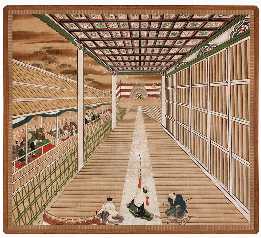 Japan- Archery contest at Sanjūsangendō -Sanjūsangendō tōshiya no zu- c.1750- Kyoto- tsuitate screen mounted on panel- opaque watercolour- ink and gold on paper