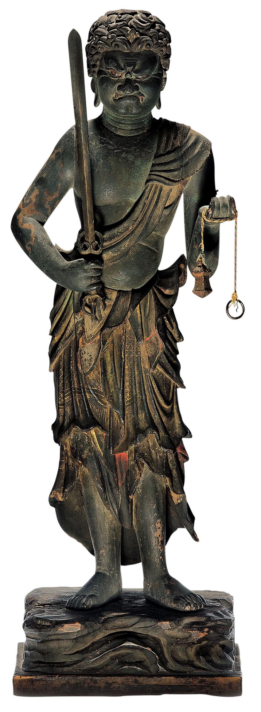 Japan, Fudõ Myõõ, 14th-15th century, Japan, wood, traces of colour and gilding, brass, cotton