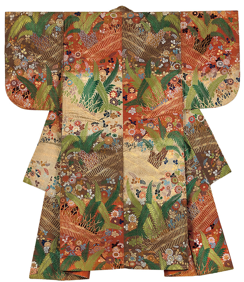 Japan, No costume, with autumn grasses design, 1910-20, Japan, silk, metallic thread, natural and synthetic dyes, resist dye and supplementary weft brocade, 158.0 cm (hem to collar), 133.0 cm