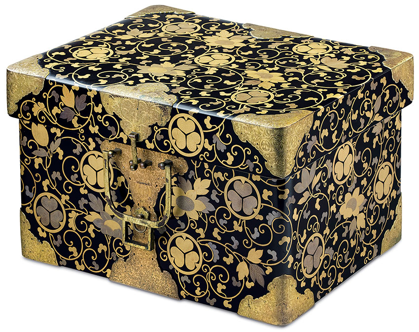 Japan- Portable storage chest –hasamibako- 18th century- Japan- wood- lacquer- gold leaf- metal, embossed paper