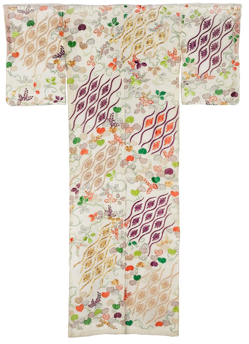 Japan, Summer robe (katabira), with hollyhock, chrysanthemum and 'rising steam' motifs, c.1780, Edo (Tokyo), BACK