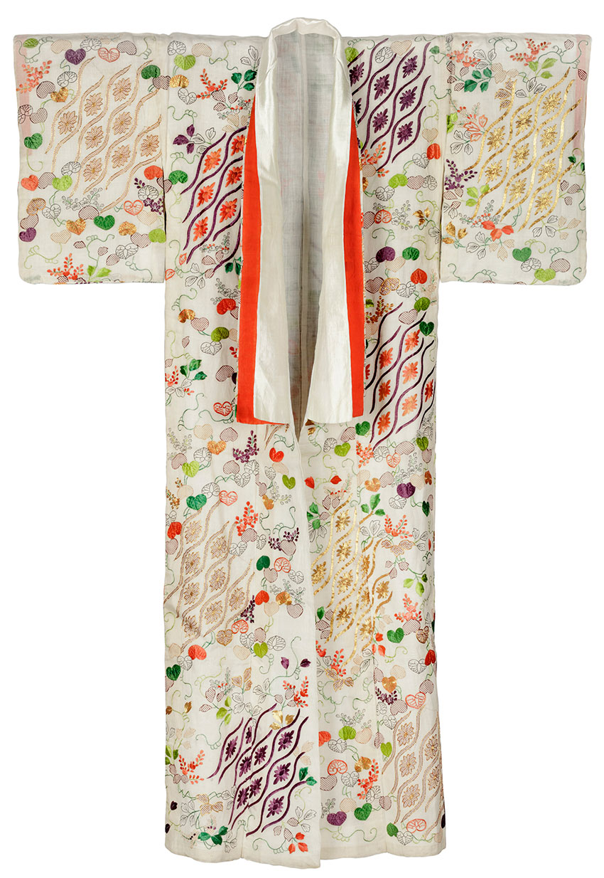 Japan, Summer robe (katabira), with hollyhock, chrysanthemum and 'rising steam' motifs, c.1780, Edo (Tokyo), FRONT