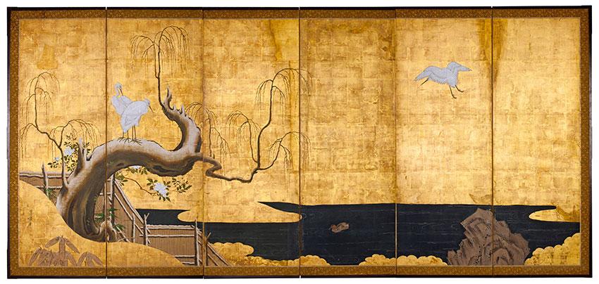 Kanō Sanraku, Japan, 1559 - 1635, Birds, tree and flowers, 1619-35, Kyoto, Japan, six panel screen, ink, colour and gold on paper
