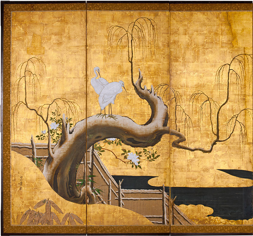 Kanō Sanraku, Japan, 1559 - 1635, Birds, tree and flowers, 1619-35, Kyoto, Japan, six panel screen, ink, colour and gold on paper_DETAIL