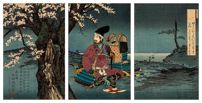 Kiyochika Kobayashi, Japan, 1847 - 1915, Taira no Tadanori (1144–1184) resting under a cherry tree, 1884 (Meiji 17), Tokyo, woodblock print, ink and colour on paper, triptych