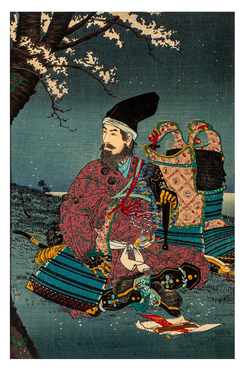 Kiyochika Kobayashi, Japan, 1847 - 1915, Taira no Tadanori (1144–1184) resting under a cherry tree, 1884 (Meiji 17), Tokyo, woodblock print, ink and colour on paper, triptych__detail 2