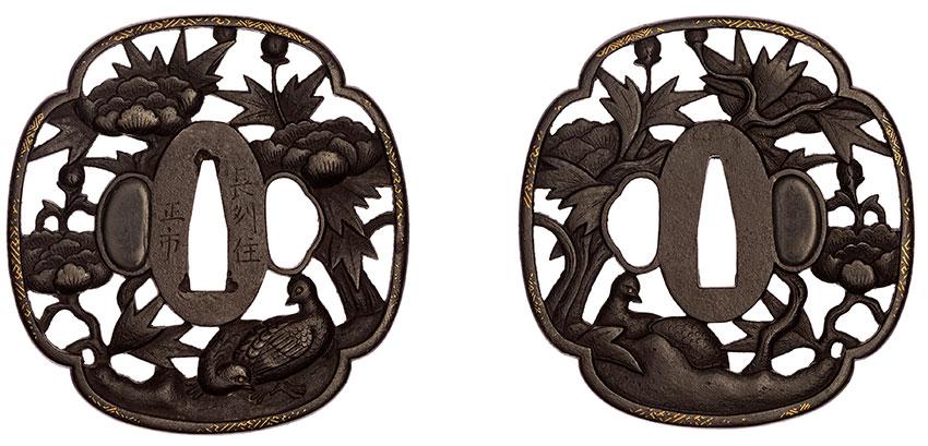Masachika, Japan, born active mid-19th century, Tsuba, two quail and peonies, c.1830, iron, gold, 8.2 x 7.8 cm