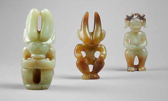 Ritual figurines, Hongshan culture, 10.6 × 5.6; 9.4 × 4.7; 9,1 × 3.7 cm