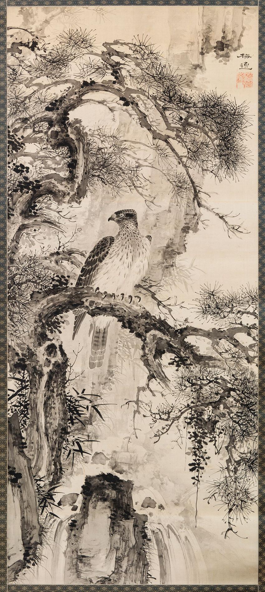 Yamamoto Baiitsu, Japan-1783 - 1856- Deep valley- old pine- c.1840s- Kyoto or Nagoya- ink on silk