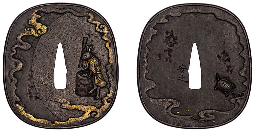 Yasuyuki, Japan, active early 18th century, Tsuba, ; hare in the moon, pounding rice; reverse a tortoise near a river, early 18th century, Japan, iron, gold-copper alloy (shakudō), silver