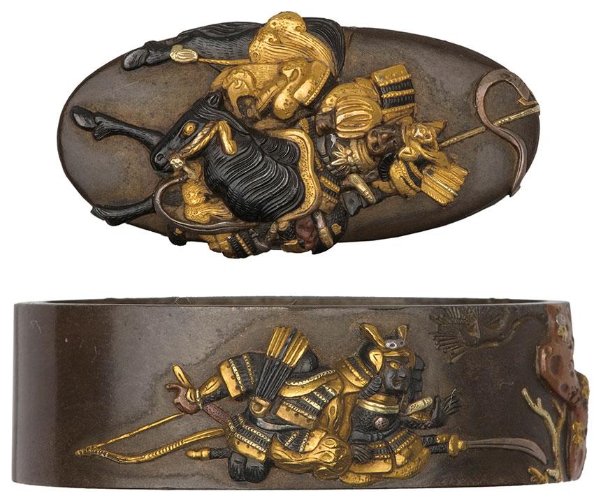Yoshimasa, Fuchi-kashira set, fuchi samurai on horseback carrying a standard; kashira; obverse samurai on horseback; reverse tent, lances and flag, c.1790, shibuichi, shakudo, gold, 3.4 cm