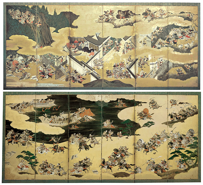detail Japan-- Battle scenes from The tales of Heike ¬Heike monogatari¬ early 18th century- pair of six-panel screens- colour and gold on paper