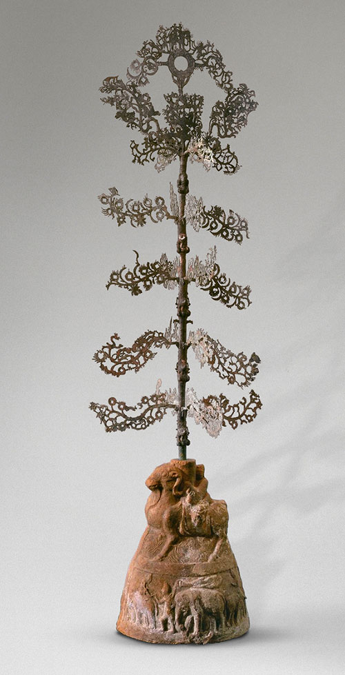 Money tree, copper alloy and terracotta. Han dynasty,NUMBER TWO