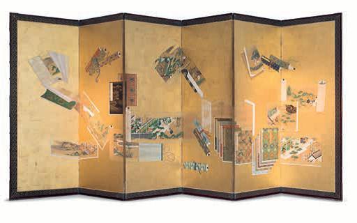 Six fold Makemono-zu screen, Japan, Tosa School