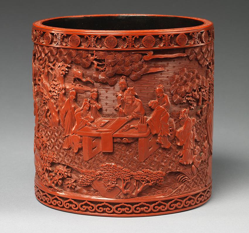 Children-to-Inmortals_MET-Museum_Brush-holder-with-scholars-in-a-garden_Qing-dinasty_-DP704246_850