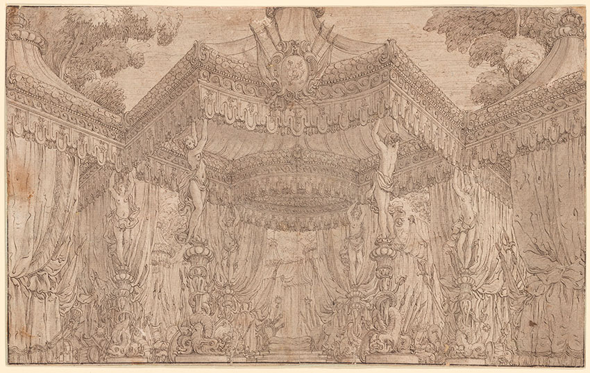 Attributed to Francesco Galli Bibiena, Royal Canopy in a Military Encampment, ca. 1738.