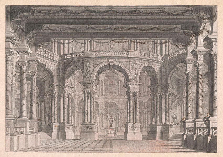"""Carlo Galli, Statue of Ceres at the Center of a Circular Court, Possible a Design for the 1772 Opera """"Cerere Placata"""" No. 44, RECTO Collection of Jules Fisher, Bibiena drawings, L2019.137.12"""