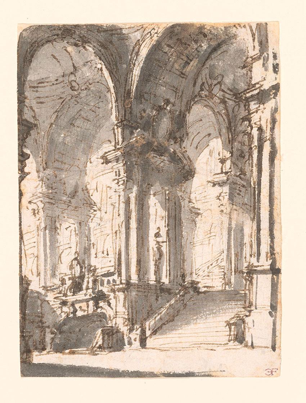 Bibiena Circle, Palace Interior, No. 122, RECTO Collection of Jules Fisher, Bibiena drawings, L2019.137.18