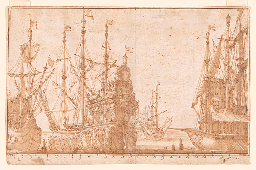 Francesco Galli, Stage Scenery with boats, No. 136, RECTO Collection of Jules Fisher, Bibiena drawings, L2019.137.21