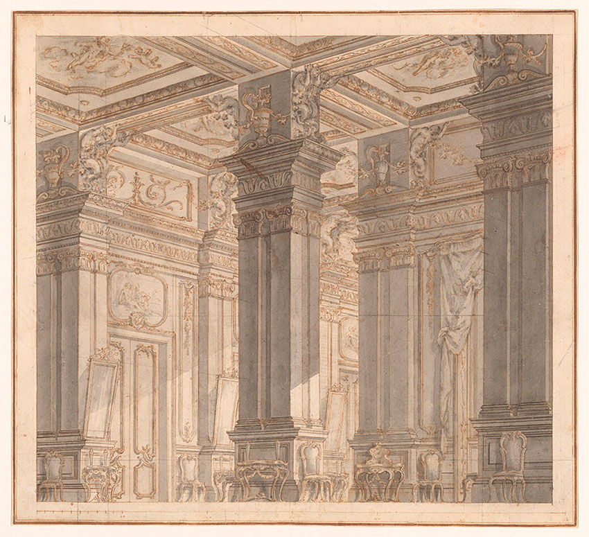 Carlo Galli, Palace interior with Tritons and Mirrored Gallery, a Design for the Stage, No. 1 RECTO Collection of Jules Fisher, Bibiena drawings, L2019.137.1