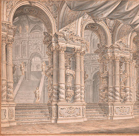 Follower of Ferdinando, Stage set drawing: Grand palace hall with columns and grand staircase, No. 150, RECTO Collection of Jules Fisher, Bibiena drawings, L2019.137.26