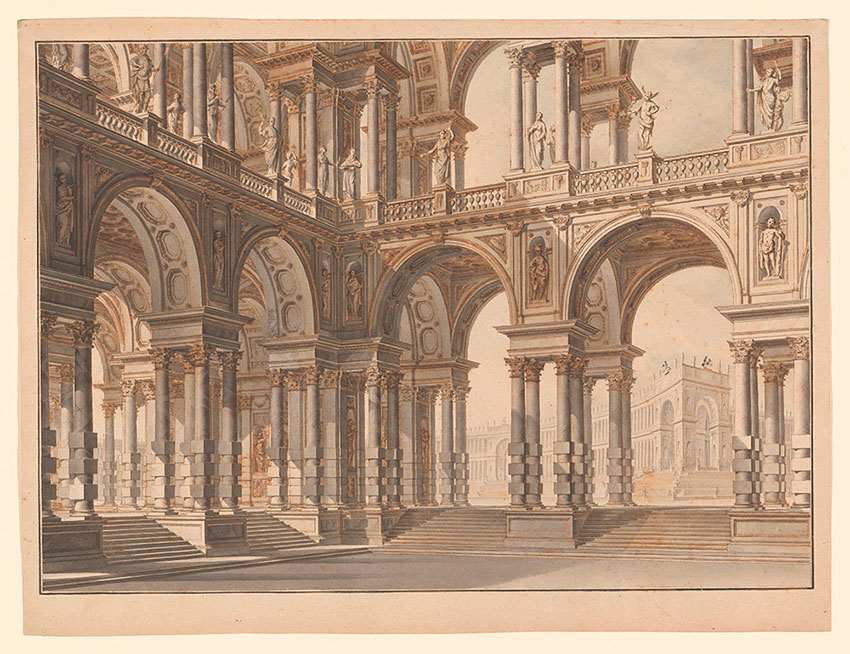 Giuseppe Galli, The courtyard of a princely palace, No. 161, RECTO Collection of Jules Fisher, Bibiena drawings, L2019.137.28