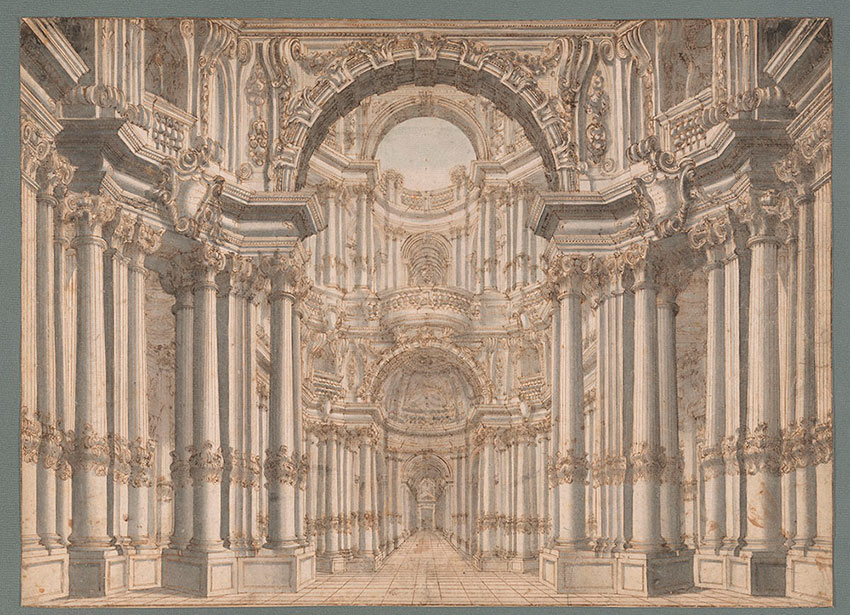 Giuseppe Galli, Entryway Leading to a Court, No. 2, RECTO Collection of Jules Fisher, Bibiena drawings, L2019.137.2